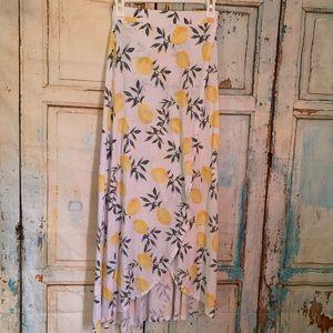 Faux wrap maxi skirt lemon pattern